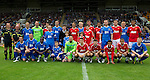 St Johnstone v Man Utd XI....31.07.10  Alan Main Testimonial.Alan Main and the teams.Picture by Graeme Hart..Copyright Perthshire Picture Agency.Tel: 01738 623350  Mobile: 07990 594431