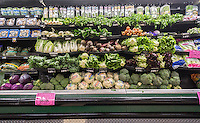 "The produce department of a supermarket in New York is seen on Sunday, August 21, 2016. ""Food at home"" prices, government speak for grocery store prices,  have been declining, falling 1.6% over the last year, while, ""food away from home"", restaurant prices, has been rising causing more consumers to eat at home than dine out.  (© Richard B. Levine)"