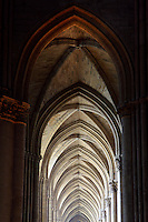 Aisle of Gothic arches, interior of Notre-Dame de Reims (Our Lady of Rheims), pictured on February 15, 2009, 13th - 15th century, Roman Catholic Cathedral where the kings of France were crowned, Reims, Champagne-Ardenne, France.