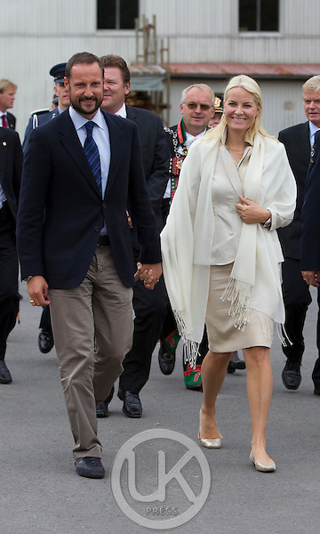 Crown Prince Haakon and Crown Princess Mette-Marit of Norway visit Evje open prison at Evje og Hornnes during a  three day visit, to the county of Aust-Agder in Southern Norway