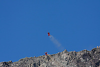 World Base Race, the first event where BASE jumpers compete to be the fastest flying down from a mountain, before deploying their parachute. The contestants jump from a mountain in the fjord Innfjorden in Western Norway, two jumpers race each other to the finish line 750 meters horizontally from the mountain. The event was won by Ronny Risvik from Stavanger BASE.