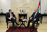 Palestinian Prime Minister Rami Hamdallah meets with German Foreign Minister Sigmar Gabriel in the West Bank city of Ramallah April 25, 2017. Photo by Prime Minister Office