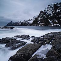 Winter coastal landscape, Å, Moskenesøy, Lofoten Islands, Norway