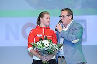 SCHAATSEN: HEERENVEEN: 25-10-2013, IJsstadion Thialf, NK afstanden, Lotte van Beek, Jan van der Meulen, KPN Clubhuis, ©foto Martin de Jong
