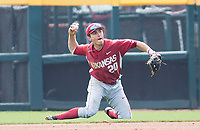 Rhode Island vs Arkansas Razorbacks Men's Baseball –  Carson Shaddy of Arkansas, after a diving stop, makes the out from his knees against Rhode Island at Baum Stadium, Fayetteville, AR, Sunday, March 12, 2017.  © 2017 David Beach