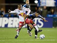 Ramon Sanchez of Earthquakes fights for the ball against Dane Richards of Red Bull during the game at Buck Shaw Stadium in Santa Clara, California.  San Jose Earthquakes defeated New York Red Bulls, 4-0.
