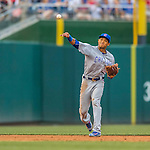 15 June 2016: Chicago Cubs shortstop Addison Russell in action against the Washington Nationals at Nationals Park in Washington, DC. The Cubs fell to the Nationals 5-4 in 12 innings, giving up the rubber match of their 3-game series. Mandatory Credit: Ed Wolfstein Photo *** RAW (NEF) Image File Available ***