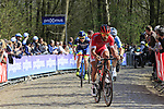 The breakaway group tackle the famous cobbled climb of Kemmelberg during Gent-Wevelgem in Flanders Fields 2017 running 249km from Denieze to Wevelgem, Flanders, Belgium. 26th March 2017.<br /> Picture: Eoin Clarke | Cyclefile<br /> <br /> <br /> All photos usage must carry mandatory copyright credit (&copy; Cyclefile | Eoin Clarke)