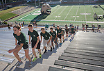 Cadets in Ohio University's Air Force ROTC program run 2,071 steps at Peden Stadium to symbolize the 2,071 steps in one of the World Trade Center Towers during the 9/11 Stair Challenge Event on Sept. 11, 2016.