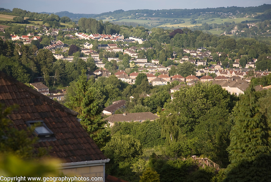 Suburban housing expansion in Larkhall to the east of the city of Bath, Somerset, England