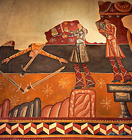 "Twelfth century restored Romanesque Frescoes depicting The ""Stoning of St. Steven"" in the church of Saint Joan of Boi, Val de Boi, Alta Ribagorca, Pyranese, Spain. A UNESCO World Heritage Site"