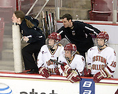 Katie King (BC - Head Coach), Megan Shea (BC - 23), Laura Hart (BC - 27), Danielle Doherty (BC - 19) - The Boston College Eagles defeated the Boston University Terriers 2-1 in the opening round of the Beanpot on Tuesday, February 8, 2011, at Conte Forum in Chestnut Hill, Massachusetts.