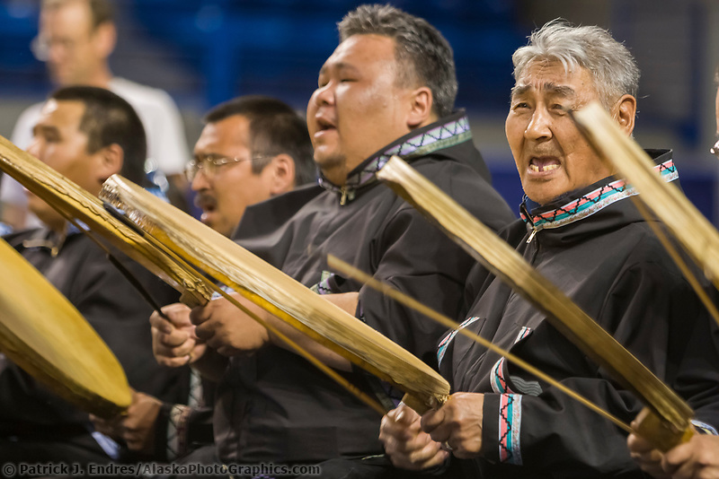 Drummers keep the beat for the Utuqqagmiut Inupiaq (Eskimo) dancers from the village of Wainwright, 2008 World Eskimo Indian Olympics held annually in Fairbanks, Alaska.