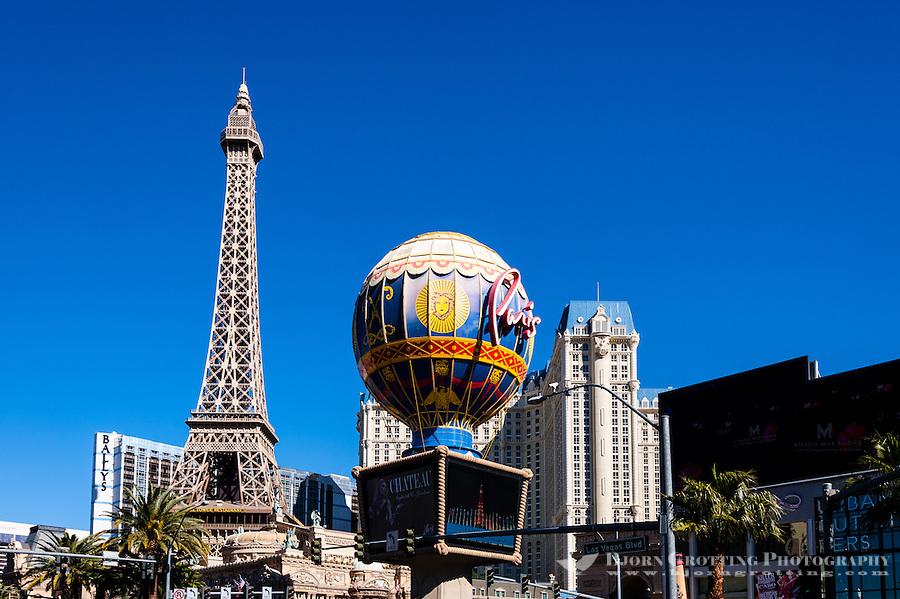 United States, Nevada, Las Vegas Strip. Paris Las Vegas opposite Bellagio. with a half size replica of the Eiffel tower.