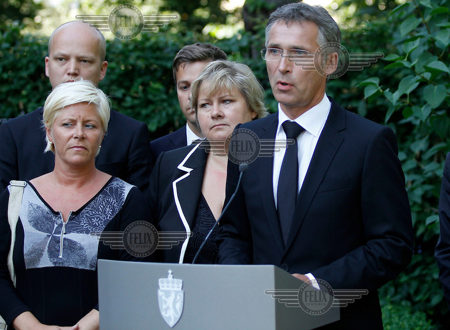 (Oslo July 27, 2011) Prime minister Jens Stoltenberg announces an independent inquiry into Friday's deadly attacks by Anders Behring Breivik, amid questions about the police response. <br /> The PM is flanked by the leaders of all parties icl. opposition Siv Jensen (Progress Party) and (in the middle) Erna Solberg (Conservative Party)<br /> <br /> A large vehicle bomb was detonated near the offices of Norwegian Prime Minister Jens Stoltenberg on 22 July 2011. .Another terrorist attack took place shortly afterwards, where a man killed 68 people, mainly children and youths attending a political camp at Ut&oslash;ya island. ..Anders Behring Breivik was arrested on the island and has admitted to carrying out both attacks..(photo:Fredrik Naumann/Felix Features)
