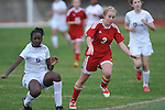 Oxford High's Frieda Salau vs. Lafayette High's Alley Houghton (3) in girls high school soccer in Oxford, Miss. on Saturday, December 8, 2012. Oxford won 1-0. Oxford won 1-0.