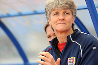 USA coach Pia Sundhage encourages her team vs. Iceland.  The USWNT defeated Iceland (2-0) at Vila Real Sto. Antonio in their opener of the 2010 Algarve Cup on February 24, 2010.