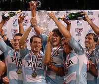 February 15 2009, San Diego, CA, USA:  Argentina's rugby team celebrate at the poduium after winning the IRB USA Sevens Tournament at Petco Park in Downtown San Diego.  Argentina emerged as the tournament champions after a thrilling 19 -14 Cup Final win over England to cap two days of fast paced action in Downtown San Diego.