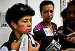 Marleny Orjuela, ( L) speaks with media during a meeting between government officials and activists with the International Red Cross to discuss details of the impending release of 10 hostages held by members of the Revolutionary Armed Forces of Colombia (FARC) in Colombia.  21/03/2012.  Photo by Nestor Silva / VIEWpress.