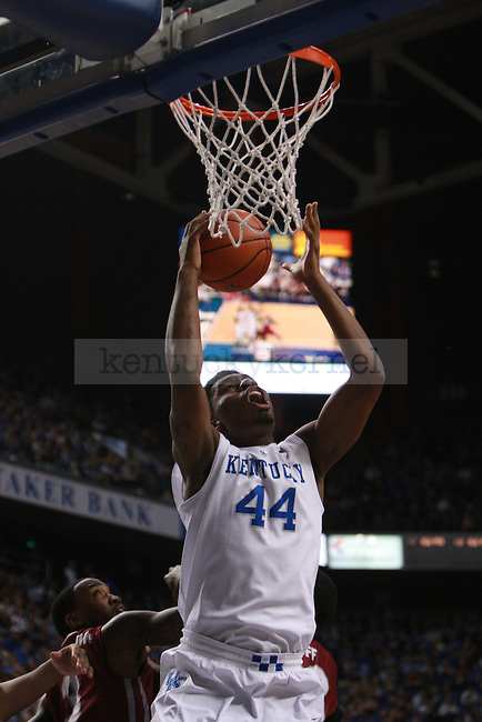 UK center Dakari Johnson (44) attempts to shoot the ball into the basket during the first-half of the mens basketball game against EKU on Sunday, December 7, 2014. Photo by Marcus Dorsey | Staff