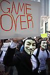 Thousands march through downtown Los Angeles in support of Occupy Together's Global Day of Action.