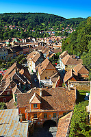 View of Sighisoara Saxon fortified medieval citadel from the clock tower, Transylvania, Romania