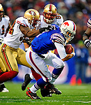 30 November 2008: Buffalo Bills' quarterback J.P. Losman is sacked during a game against the San Francisco 49ers at Ralph Wilson Stadium in Orchard Park, NY. The 49ers defeated the Bills 10-3. ***** Editorial Use Only ******..Mandatory Photo Credit: Ed Wolfstein Photo