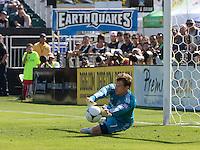 Santa Clara, California - Sunday May 13th, 2012: Dan Kennedy of Chivas USA makes diving save during a Major League Soccer match agains San Jose Earthquakes at Buck Shaw Stadium