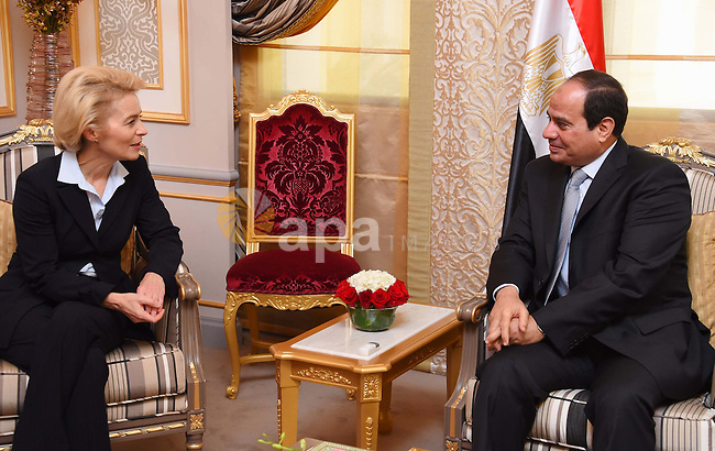 Egyptian President Abdel Fattah el-Sisi meets for talks with German Defense Minister Ursula von der Leyen in Manama, Bahrain, 31 October 2015. German Defense Minister von der Leyen is on a three-day visit to Bahrain in order to take part in the IISS Manama Dialogue security summit. Photo. Photo by Egyptian President Office