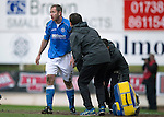 St Johnstone v Dundee United...09.05.15   SPFL<br /> A groggy Frazer Wright after taking a knock to the head<br /> Picture by Graeme Hart.<br /> Copyright Perthshire Picture Agency<br /> Tel: 01738 623350  Mobile: 07990 594431