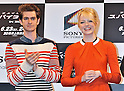 "Emma Stone, Andrew Garfield, June 13, 2012 :  Tokyo, Japan :Actor Andrew Garfield(L) and actress Emma Stone attend a press conference for the film ""The Amazing Spider-Man"" in Tokyo, Japan, on June 13, 2012. The film will open on June 30 in Japan."