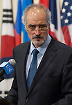 Bashar Ja'afari, Permanent Representative of the Syrian Arab Republic to the UN, speaks to press