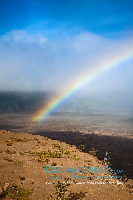 rainbow over Kilauea Caldera, Hawaii Volcanoes National Park, Kilauea, Big Island, Hawaii, USA