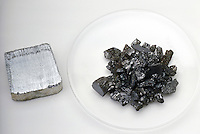 ANTIMONY AND ARSENIC<br /> Two Metalloids Compared<br /> Antimony (left) and arsenic (right) are both Group 15 elements, or the nitrogen group. Both are most commonly found in alloys and used for battery production.