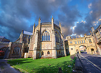 Chapter House of the the medieval Wells Cathedral built in the Early English Gothic style in 1175, Wells Somerset, England