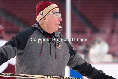 Jerry York (BC - Head Coach) - The Boston College Eagles practiced at Fenway on Friday, January 6, 2017, in Boston, Massachusetts.