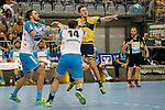 GER - Mannheim, Germany, September 23: During the DKB Handball Bundesliga match between Rhein-Neckar Loewen (yellow) and TVB 1898 Stuttgart (white) on September 23, 2015 at SAP Arena in Mannheim, Germany. Final score 31-20 (19-8) .  +s6, Simon Baumgarten #14 of TVB 1898 Stuttgart, Patrick Groetzki #24 of Rhein-Neckar Loewen<br /> <br /> Foto &copy; PIX-Sportfotos *** Foto ist honorarpflichtig! *** Auf Anfrage in hoeherer Qualitaet/Aufloesung. Belegexemplar erbeten. Veroeffentlichung ausschliesslich fuer journalistisch-publizistische Zwecke. For editorial use only.