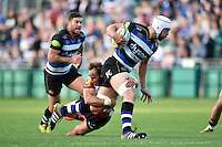 Dave Attwood of Bath Rugby takes on the Gloucester defence. West Country Challenge Cup match, between Bath Rugby and Gloucester Rugby on September 26, 2015 at the Recreation Ground in Bath, England. Photo by: Patrick Khachfe / Onside Images