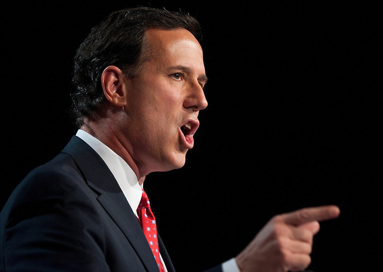UNITED STATES – OCTOBER 7: Presidential candidate and former Senator Rick Santorum speaks at the Family Research Council's Values Voter Summit in Washington on Friday, Oct. 7, 2011. (Photo By Bill Clark/CQ Roll Call)
