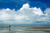 Girl walking in tidal flats at Farewell Spit, New Zealand