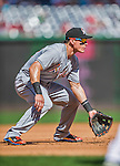 20 September 2015: Miami Marlins third baseman Derek Dietrich in action against the Washington Nationals at Nationals Park in Washington, DC. The Marlins fell to the Nationals 13-3 in the final game of their 4-game series. Mandatory Credit: Ed Wolfstein Photo *** RAW (NEF) Image File Available ***