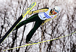 Shota Tanaka of Japan  soars through the air during the FIS World Cup Ski Jumping in Sapporo, northern Japan in February, 2008.