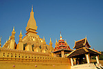 Wat Pha That Luang is a Buddhist temple in Vientiane built in the 16th century under King Setthathirat on the ruins of an earlier 13th century Khmer temple. Pha That Luang was destroyed by the Thai invasion in 1828, which left it heavily damaged. A French explorer and architect came across the abandoned temple and made detailed sketches of it.  Not until 1900 was it restored it to its original design. The architecture of the building includes many references to Lao culture and identity, and so has become a symbol of Lao nationalism. Relics of The Buddha are said to be contained here.