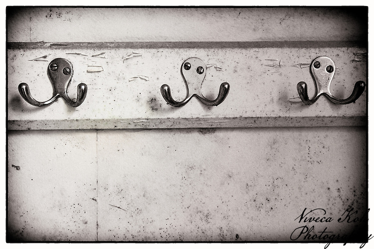 Coat hooks on the wall at Lillesden Girl's School