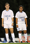 13 October 2011: North Carolina's Kealia Ohai (7) and Ranee Premji (CAN) (10). The University of North Carolina Tar Heels defeated the Duke University Blue Devils 1-0 at Fetzer Field in Chapel Hill, North Carolina in an NCAA Division I Women's Soccer game.