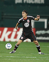 Juan Manuel Pena #3 of D.C. United controls the ball during an MLS match against the New England Revolution on April 3 2010, at RFK Stadium in Washington D.C.