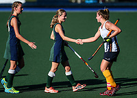 Action during the Secondary School Girls ANZAC hockey Invitational Tournament between St Cuthberts College and Iona College Hockey matchat St Cuthbert's College, Remuera,  New Zealand. Friday 28 April 2017. Photo:Simon Watts / www.bwmedia.co.nz