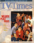 Melrose Place cast on the cover of the Los Angeles Times TV Times magazine. This was made on the set north of Los Angeles shot from a cat walk above and behind one of the fake set walls.