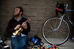 Blind Pilot bassist Luke Ydstie waits for the rain to slacken before hitting the road in Leggett, CA on September 19, 2008.
