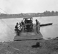 Southwestern Ohio:  Brady Stewart's 1906 Buick crossing the Ohio River on a poled ferry -  1906
